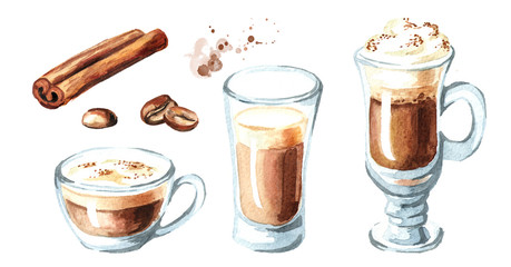 Coffee with milk set. Cinnamon and coffee beans. Watercolor hand drawn illustration, isolated on white background