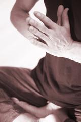 Yoga teacher man mudra