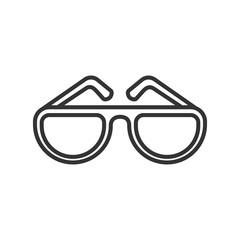Black isolated outline icon of sunglasses on white background. Line Icon of glasses.