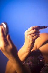 Sexy big breasts woman makeup