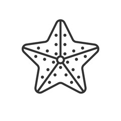 Black isolated outline icon of starfish on white background. Line Icon of starfish.