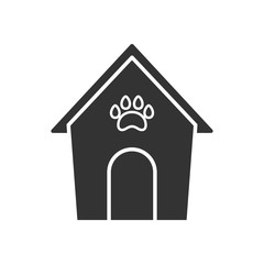 Black isolated icon of kennel on white background. Silhouette of animals house.