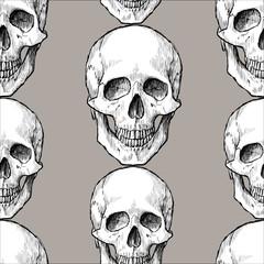 Background of drawn human skulls