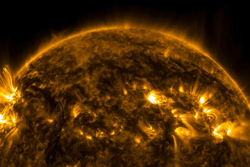 View of the sun through filters, computer graphics of the sun near. The star is the sun.