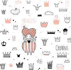 hand drawn doodle crowns and princess
