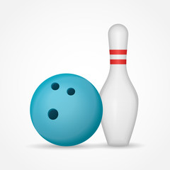Bowling ball and pin isolated on white background. Vector illustration.