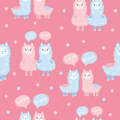 Seamless pattern with cute llamas. Print with adorable objects on background, pastel colors