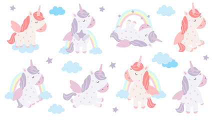 Vector set of cute unicorns. Adorable magic animal on background, pastel colors.