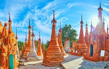 Panorama with ochre pagodas, Nyaung Ohak, Inle Lake, Myanmar