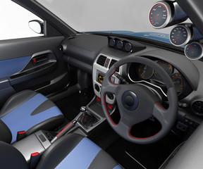Salon sports car. Class sedan. 3D illustration.