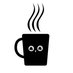 Cute mug with owl eyes. Black vector icon