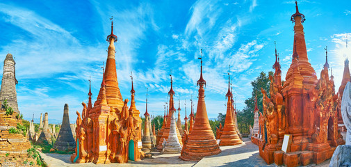 Among the ochre stupas of Nyaung Ohak, Indein, Inle Lake, Myanmar