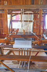 The handloom with lotus fabric, Inpawkhon, Inle Lake, Myanmar