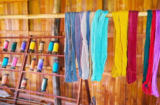 Colored yarn in Inpawkhon textile workshop, Inle Lake, Myanmar