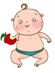 cute baby boy  eating apple  cartoon mascot