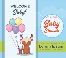 Baby shower invitation template with cute deers with colorful ballons over blue background, vector illustration