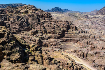 Aerial view of Roman Theater in Petra, Jordan