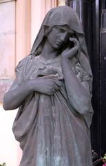 Mourning sculpture on a Mirogoj cemetery in Zagreb, Croatia