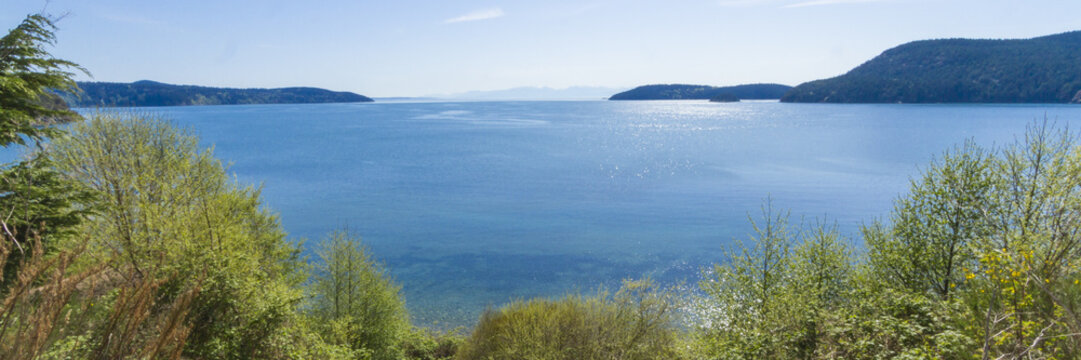 Panorama Photo of Puget Sound and the San Juan Islands from Anacortes