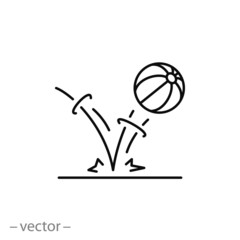 bounce ball icon, line sign - vector illustration eps10