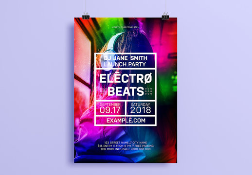 Party Flyer Layout with Multicolor Design Element