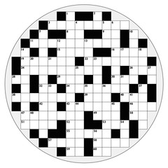 Round crossword with empty boxes to insert any words for a clear message, brief heading or explicit information in keywords - circular shaped template.