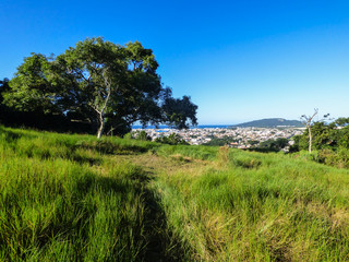 Atlantic forest and view of Ingleses do Rio Vermelho district in Florianopolis, Brazil