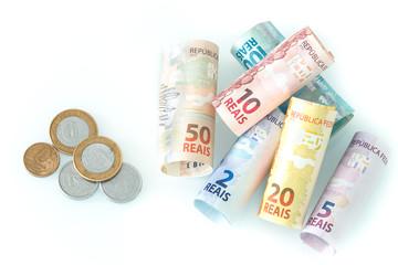 Brazilian money with calculator and brazilian symbol
