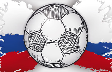 Splatter with Russian Colors and Hand Drawn Soccer Ball Drawing, Vector Illustration