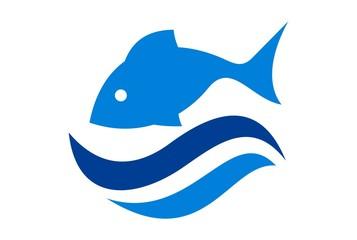 fish on water waves sea logo icon vector