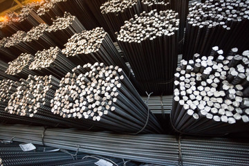 Bundle reinforcing bar. Steel reinforcement. Industrial background.