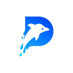 Dolphin in Letter D Logo