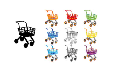 Set shopping cart icon flat design. Toy cartoon colorful design best vector icon. Children s shop