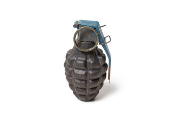 Vintage American hand grenade, Fuze M228, probably from the 1980s, isolated on white
