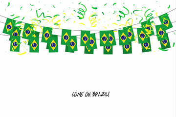 Brazil flags garland with confetti on white background, Hang bunting for Brazil celebration template banner.