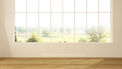 Wall Mural - Empty simple space in hotel - 3d rendering  and nature view background