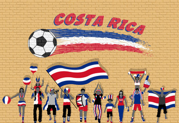 Costa Rican football fans cheering with Costa Rica flag colors in front of soccer ball graffiti