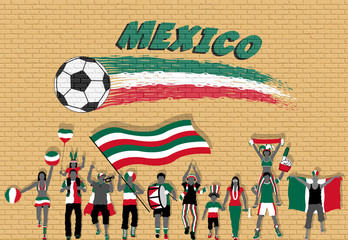 Mexican football fans cheering with Mexico flag colors in front of soccer ball graffiti