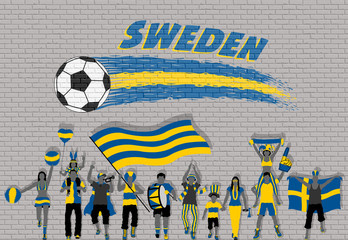 Swede football fans cheering with Sweden flag colors in front of soccer ball graffiti