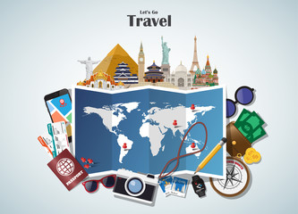 World famous Landmark paper art. Global Travel And Journey Infographic . Vector Flat Design Template.vector/illustration.Can be used for your banner, business, education, website or any artwork.