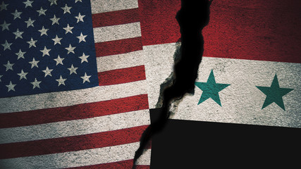 United States vs Syria Flags on Cracked Wall