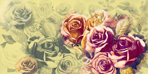 Illustration painted spring flowers colorful bunch of vintage  roses