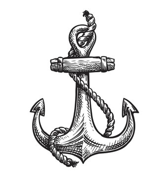 Vintage anchor with rope. Hand-drawn sketch, vector illustration