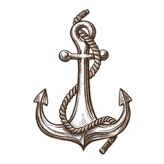Anchor with rope, sketch. Sailing, cruise concept. Vintage vector illustration