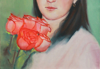 Portrait of a girl with flowers painting. Rose. Painting on canvas with oil paints