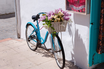 A bicycle with flowers in a basket near the store in spain.