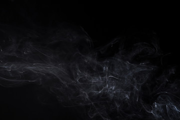 White isolated smoke of smoldering aromastick