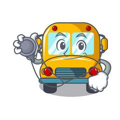Doctor school bus character cartoon