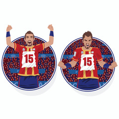 Set of round emblems or stickers with happy soccer player rejoicing in victory and furious football player angry with the lose. White background. Realistic style