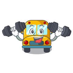 Fitness school bus character cartoon